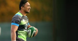 Bundee Aki at an  Ireland  training session in  Carton House, Co Kildare. Photograph:  Billy Stickland/Inpho