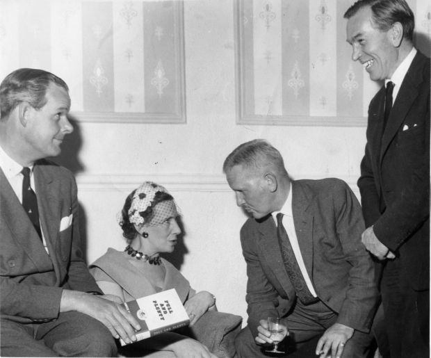 Mary Laverty at the launch in 1960 in Julry's Hotel, Dublin of the second edition of Full and Plenty, with Peter Odlum, George Shackleton and GE Hetherington, Photograph: Eddie Kelly