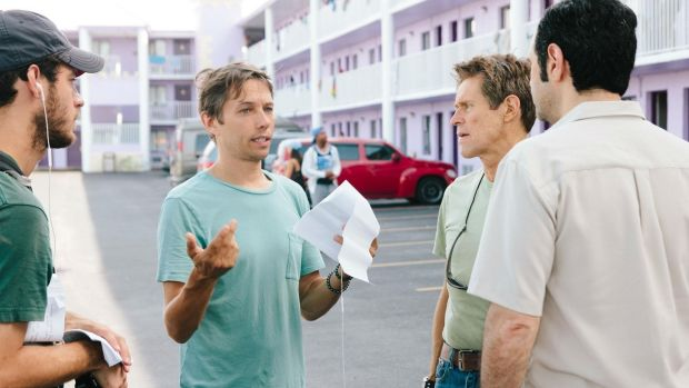 Director Sean Baker with Willem Dafoe on the set of The Florida Project.