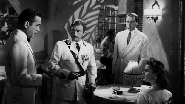 A scene still 'Casablanca' features (l to r) Humphrey Bogart, Claude Rains, Paul Henried and Ingrid Bergman. Photograph: Dr Macro's High Quality Movie Scans
