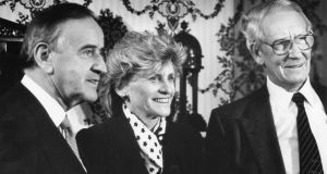 Gordon Wilson (right) pictured in 1993 with then  taoiseach Albert Reynolds and US ambassador to Ireland  Jean Kennedy Smith. Photograph: Joe St Leger