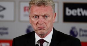 The new West Ham United manager David Moyes during a  press conference. Photograph:  Reuters/John Sibley