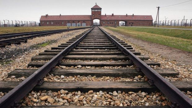 "Railway tracks from the gates at Auschwitz II – Birkenau: ""The gas canisters always came with the German Red Cross car and two SS men . . . who shook the gas into the openings,"" wrote Marcel Nadjari. Photograph: Scott Barbour/Getty Images"
