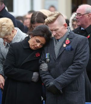 ENNISKILLEN MEMORIAL: Stephen Gault, whose father Samuel was killed in the 1987 Enniskillen bombing exactly 30 years ago, with his wife Sharon at the unveiling of a new memorial to the 12 victims of the IRA's Remembrance Sunday bomb attack on the Co Fermanagh town. Photograph: Niall Carson/PA Wire