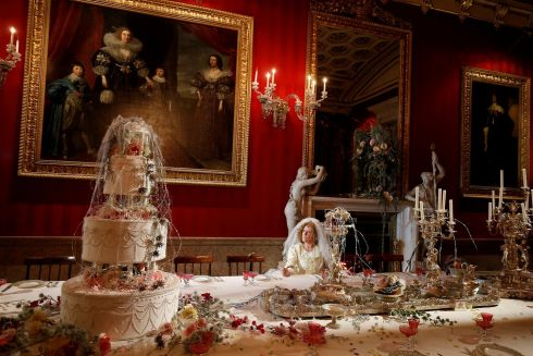 DICKENSIAN CHRISTMAS: Carole Copeland poses as the character Miss Havisham during the Charles Dickens-themed annual Christmas event at Chatsworth House near Bakewell, Britain. Photograph: Andrew Yates/Reuters