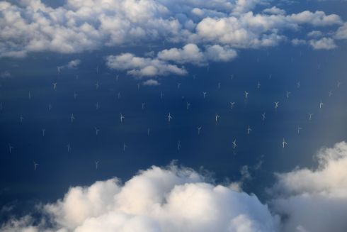 WIND ENERGY: Burbo Bank Offshore Wind Farm on the Burbo Flats in Liverpool Bay, operated by Dong Energy, seen from the window of an aircraft over the Irish Sea, off the west coast of northern England. Photograph: Paul Ellis/AFP/Getty Images
