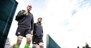 Devin Toner and Iain Henderson at Ireland  squad training in Carton House, Co Kildare. Photograph: Billy Stickland/Inpho