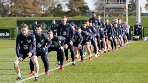 The Ireland squad in training on Wednesday ahead of the World Cup playoffs with Denmark. Photo: Oisin Keniry/Inpho
