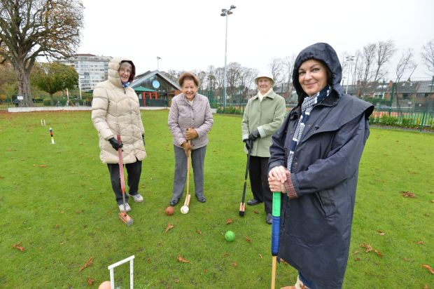 "Aileen Mulhern, Pansey Power, Elizabeth Moore and Karen Keating of the Herbert Park Croquet Club: ""This park is lovely."" Photograph: Alan Betson"