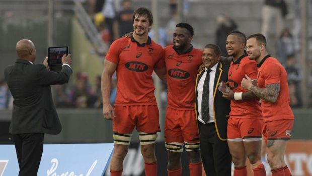 South Africa's head coach Allister Coetzee with (L-R) lock Eben Etzebeth, flanker Siya Kolisi (C), outhalf Elton Jantjies and scrumhalf Francois Hougaard. Photograph: Juan Mabromata/AFP