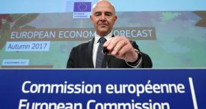 EU commissioner for economic and financial affairs Pierre Moscovici presents the autumn economic forecasts on Thursday. Photograph: Reuters