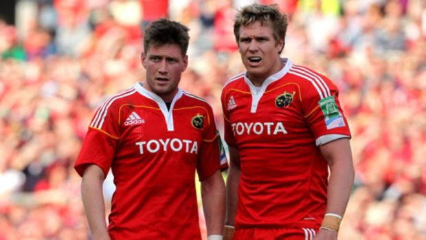 Ronan O'Gara with Jean de Villers during the latter's solitary season with the province. Photograph: James Crombie/Inpho