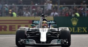 "Lewis Hamilton: ""Vroom, vroom."" Couldn't have said it better myself, Lewis. Photograph: Yuri Cortez/AFP/Getty Images"