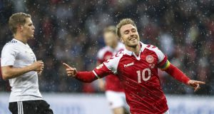 Christian Eriksen  celebrates after scoring in a friendly against Germany  in Brondby, Denmark, on June 6th, 2017. Photograph:  Getty Images