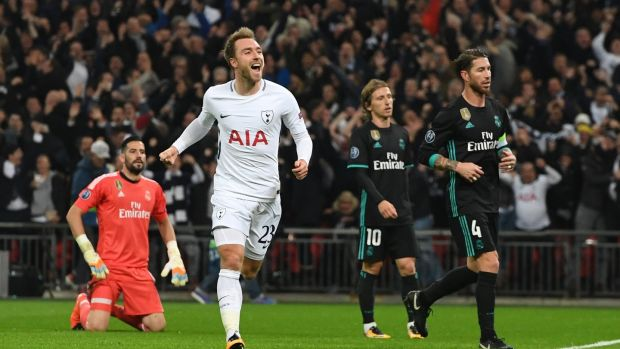 Christian Eriksen after scoring for Spurs against Real Madrid at Wembley Stadium on November 1st. Photograph: EPA