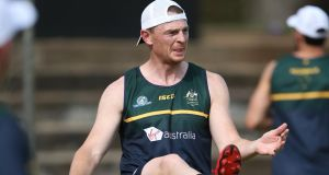 Goalkeeper  Brendon Goddard during Australia's training session in  Adelaide Oval on Thursday. Photograph: James Elsby/AFL Media/Getty Images