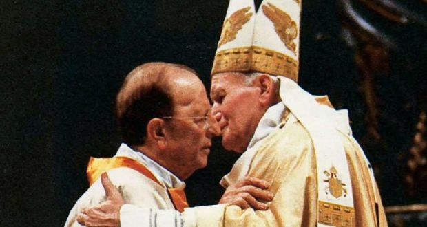 Marcial Maciel Degollado  is embraced by Pope John Paul II in a ceremony on January 3th, 1991, marking the 50th anniversary of the Legionaries of Christ. Photograph: Getty Images