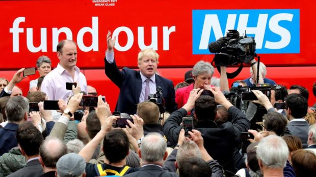Brexit Britain: Boris Johnson speaks in front of the Vote Leave battle bus. Photograph: Christopher Furlong/Getty