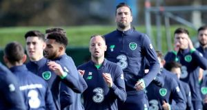 David Meyler and Shane Duffy (centre) of the Republic of Ireland squad training at the FAI National Training Centre in Dublin. Photograph: Oisin Keniry/Inpho