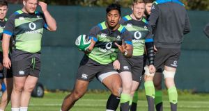 Bundee Aki during Ireland squad training at Carton House in Co Kildare. Photograph: Morgan Treacy/Inpho