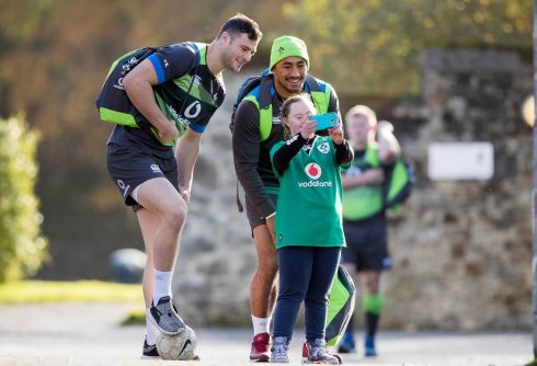 Robbie Henshaw and Bundee Aki  at Ireland Rugby Squad Training, Carton House, Co. Kildare. Photograph: Morgan Treacy
