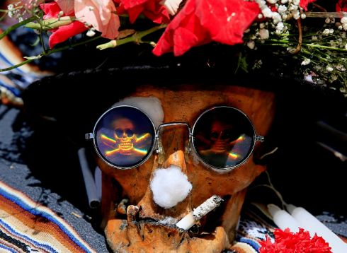 A skull at a cemetery during the Day of Skulls celebrations in La Paz, Bolivia. Photograph: David Mercado/Reuters