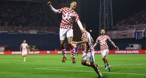 Croatia's Andrej Kramaric celebrates scoring their fourth goal in the first leg of the World Cup playoff against Greece at  Stadion Maksimir in Zagreb, Croatia. Photograph: Antonio Bronic/Reuters