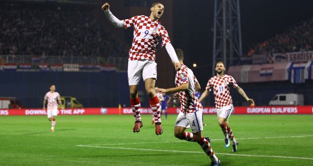39766afb005 Croatia s Andrej Kramaric celebrates scoring their fourth goal in the first  leg of the World Cup