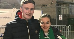 Aaron Stewart and Rebecca Morrow from Co Derry who got engaged while at the Euros last year still hoping Northern Ireland will make it to World Cup in Russia. Photograph: Gerry Moriarty