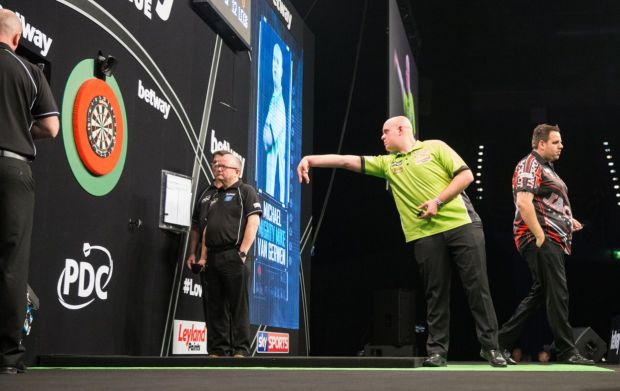 Michael van Gerwen at the oche. Photograph: Tim Williams/Getty
