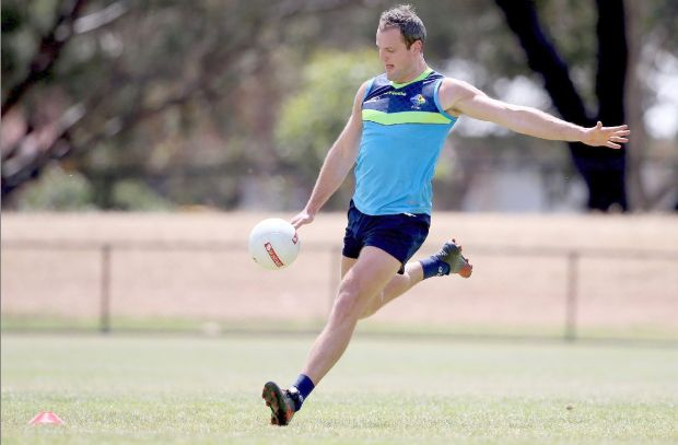 Ireland's Michael Murphy training for the International Rules in Adelaide. Photograph: Tommy Dickson/Inpho
