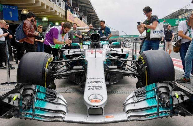 Lewis Hamilton Mercedes at Interlagos circuit in Sao Paulo, Brazil. Photograph: Getty