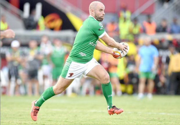 Ireland's Liam Finn attacks in the match against Papua New Guinea Kumuls. Photograph: Getty