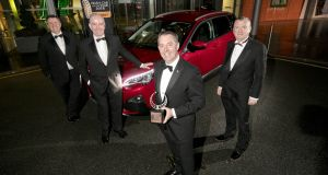 Michael Sheridan, Irish Car of the Year committee; Tom Dennigan, Continental Tyres; Des Cannon, managing director Gowan Distributors Ltd-Peugeot Ireland; David Walshe, Irish Car of the Year committee