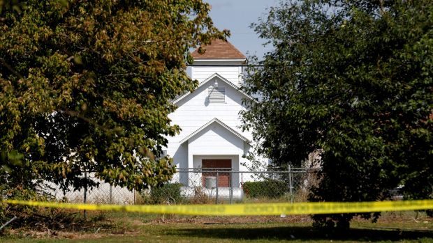 The entrance to the First Baptist Church of Sutherland Springs, the site of the shooting. Photograph: Reuters/Jonathan Bachman