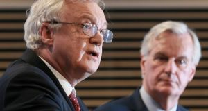 Britain's Brexit secretary David Davis and  Michel Barnier (right), the EU's chief Brexit negotiator speak to reporters at the end of the  6th round of Brexit talks in Brussels on Friday. Photograph: EPA