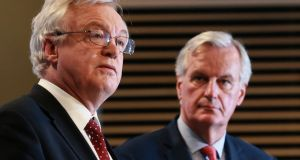 Britain's Brexit  secretary David Davis (left)  and Michel Barnier  the EU's chief negotiator during a press briefing on Friday at the end of the 6th round of talks in Brussels. Photograph: EPA
