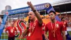Chinese Super League: Luiz Felipe Scolari thanks Guangzhou Evergrande players and fans after his final match as manager, on November 4th. Photograph: AFP/Getty