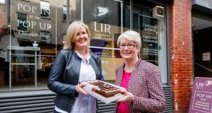 Ann Murray, MD, Lir Chocolates and Connie Doody, co-founder and technical director,  at the Lir Chocolate Workshop on Dame Lane, Dublin 2. Photograph: Andres Poveda