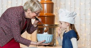 Connie Doody, co-founder of Lir Chocolates, with her granddaughter Eimear Hehir (6) from Ballyea, Co Clare. Photograph: Andres Poveda