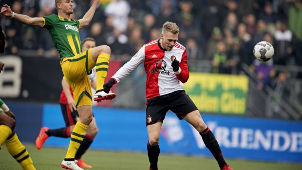 Nicolai Jorgensen is set to feature on Saturday despite fracturing his wrist playing for Feyenoord. Photograph: Olaf Kraak/EPA