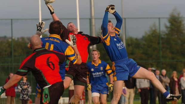The 2006 game between the PSNI Gaelic football team, which Peadar Heffron captained, and St Brigid's in Belfast. Photograph: Arthur Allison
