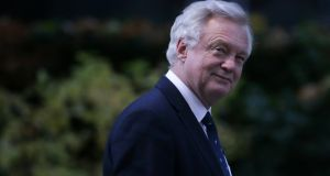David Davis, Britain's Brexit minister:  A European Commission paper suggested that it seems 'essential for the UK to commit to ensuring that a hard border on the island of Ireland is avoided'. Photograph: AFP/ Getty Images