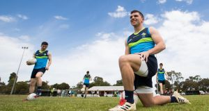 Seán Powter training for the Ireland International Rules squad at St Anne's Park, Adelaide. Photograph: Tommy Dickson
