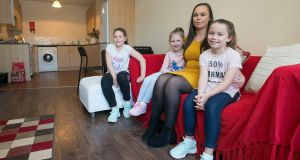 Family hub: Christina Foster, with her daughters (from left) Ellie (10), Lucy (5) and Kayleigh (8). Photograph: Dave Meehan/The Irish Times