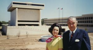 LBJ Presidential Library: President and Lady Bird Johnson outside their complex, at the University of Texas at Austin, in 1971. Photograph: Bettmann/Getty