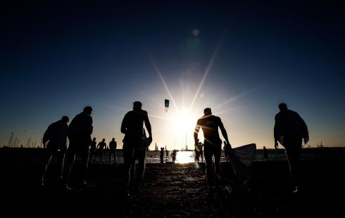 Ireland International Rules Recovery Session, St Kilda's Beach, Victoria, Australia Photograph: Tommy Dickson