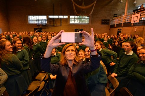 Former United States ambassador to the United Nations Samantha Power visiting Mount Anville School where she was a pupil. Photograph: Alan Betson
