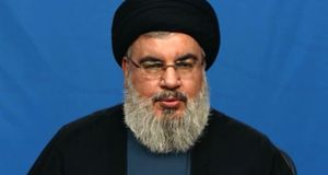 Hizbullabh leader Sayyed Hassan Nasrallah accuses Saudi Arabia of declaring war on Lebanon. Photograph: AFP/Ho/Al Manar
