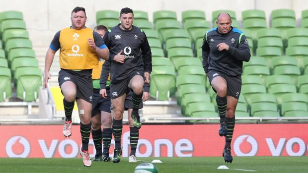 Dave Kilcoyne, Robbie Henshaw and Rory Best at the Ireland Rugby Captain's Run at the Aviva Stadium, Dublin on Friday. Photograph: Billy Stickland/Inpho